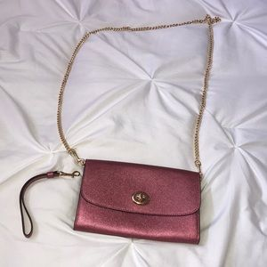 Authentic Coach clutch on chain with strap